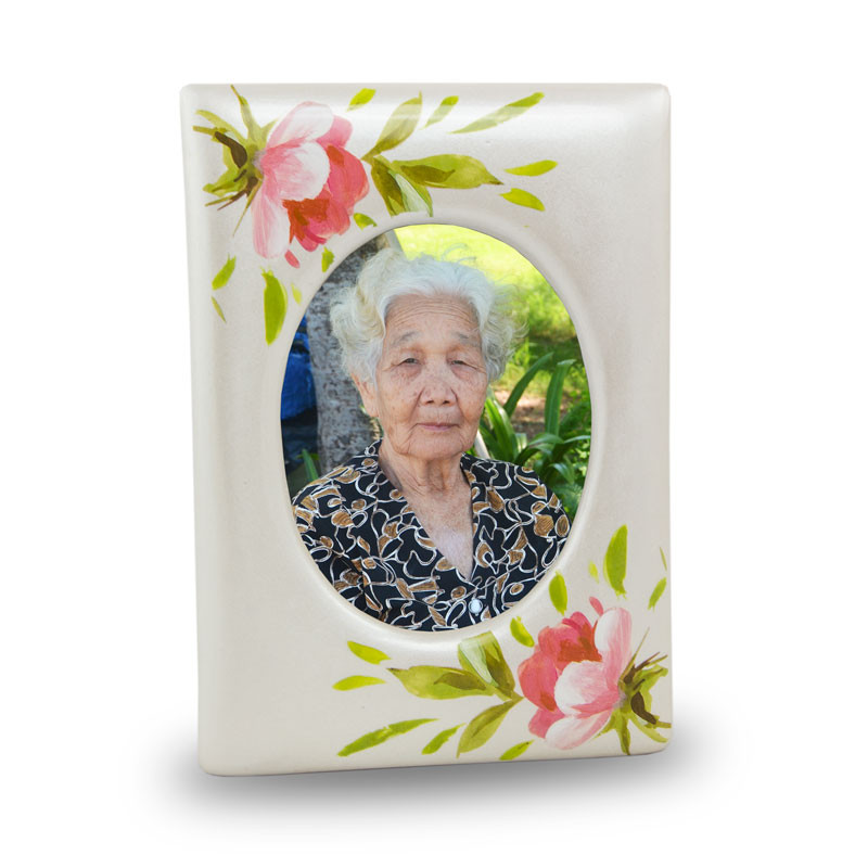 Ceramic Photo Frame Memorial Keepsake Urns - Extra Small 1 Pounds -  Pink Rose Bouquet