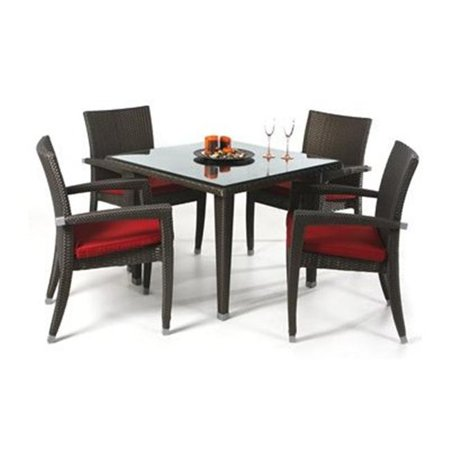all things cedar pr35 5 rattan 5 piece patio table set