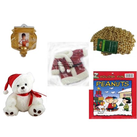 Christmas Fun Gift Bundle [5 Piece] - Hallmark Basketball Photo Frame Ornament - Gold Bead Garland Strand 18' Feet - 2011 Avon Santa Outfit Wine Bottle Cover  - White  Bear  9