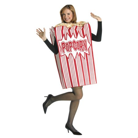 Movie Night Popcorn Box Adult Halloween Costume (Halloween Box Set Cheap)