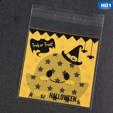 Fancyleo 100x Halloween Cello Cellophane Sweet Candy Bags Square Favor Kids Pretty Good - Good Halloween Game Prizes