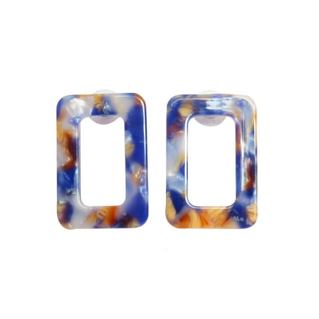 Oussum Resin Earrings for Women Geometric Tortoise Shell Rectangle Resin Stud Earrings for Ladies Fashion Jewelry Gifts for Her Online Element Jewelry Rectangle Earrings