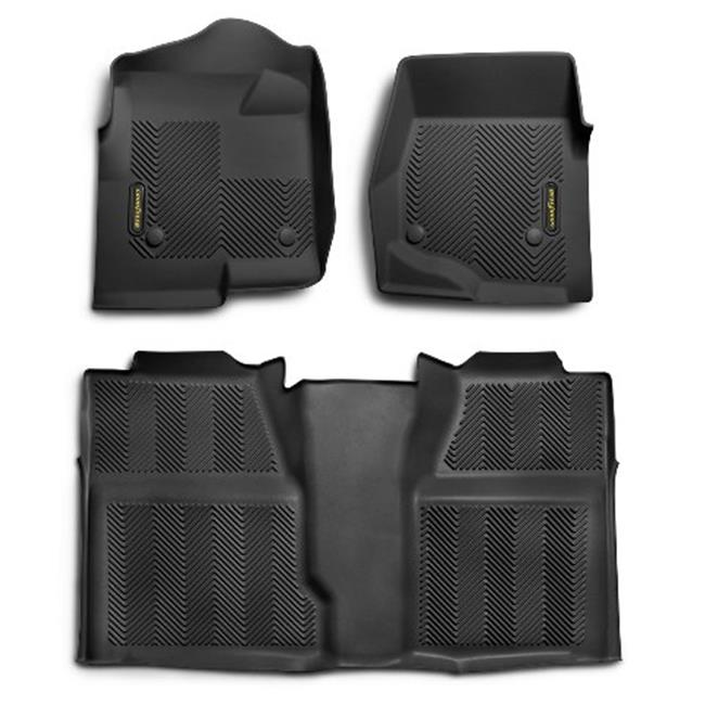 Goodyear 140023 Front Pair & Rear Over Hump Floor Liner - Black, 2007-2014 Toyota Tundra Double Cab