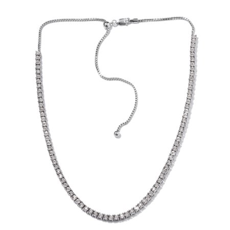 - 925 Sterling Silver Platinum Plated Round Diamond Necklace 20