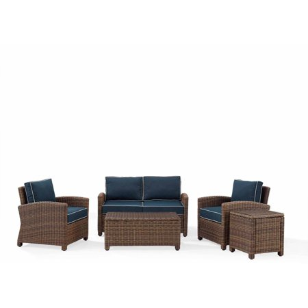 Crosley Outdoor Wicker Conversation Navy Cushions Loveseat