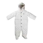 Ralph Lauren Polo Baby Quilted One Piece Snowsuit Jacket Pink/White/Navy New (White,6 Months)
