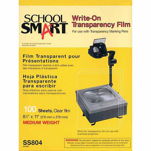 School Smart 8.5 x 11 in. Heavy-Weight Write-On Transparency Film, Pack - 100, Clear