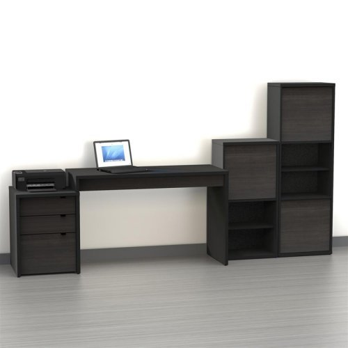 Nexera Sereni-T Computer Desk with Filing Cabinet and Optional Bookcases - Large - Black