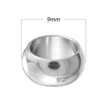 50pcs Wholesale Stainless Steel Silver Large Hole Spacer Beads Finding 9mm Dia