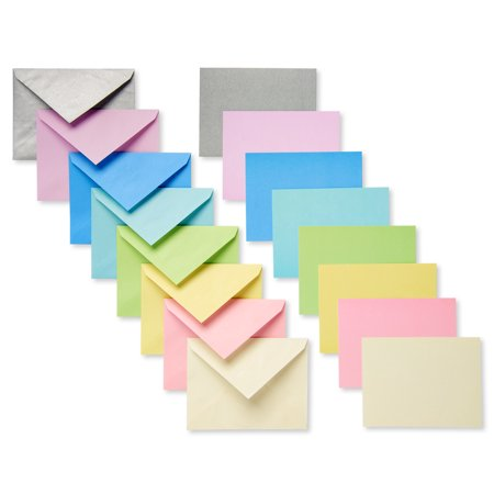 American Greetings 100 Count Blank Flat Panel Note Cards and Colored Envelopes, Pastel (Blank Inside Art Card)