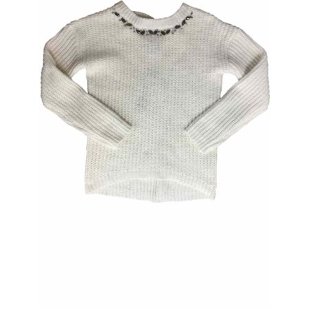 f68e8bf5 Girls Cream Knit Rhinestone Chunky Knitted Pullover Sparkly Pull Over  Sweater - Walmart.com