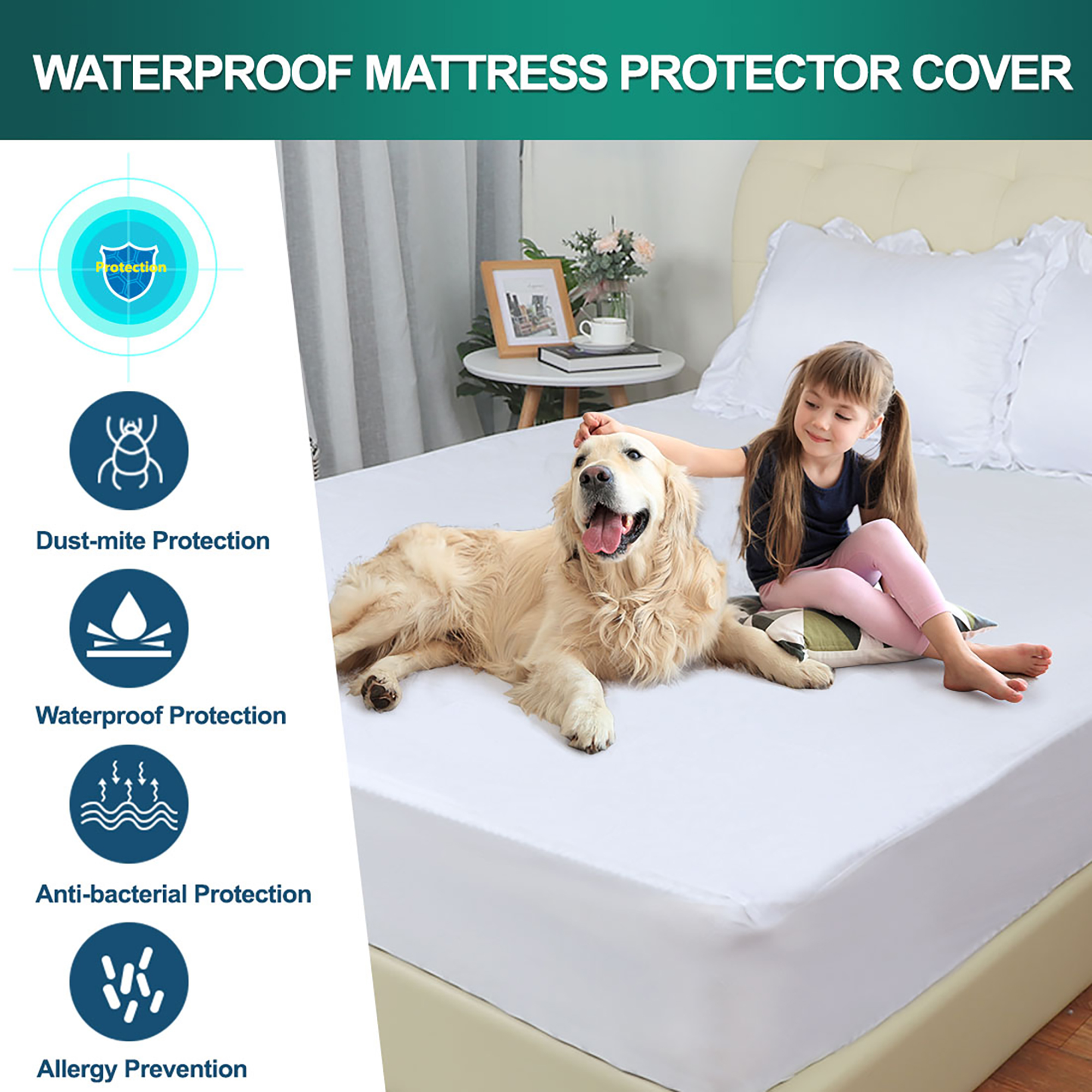 Waterproof Mattress Protector Cotton Bed Mattress Pad Deep