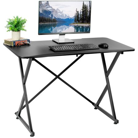 "VIVO Black 43"" Folding Desk Frame with Curved Tabletop 