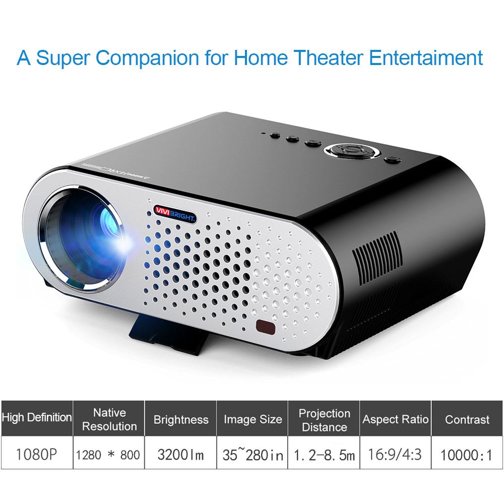 "Docooler Full Color 280"" LED Projector 3200 ANSI Lumens C..."
