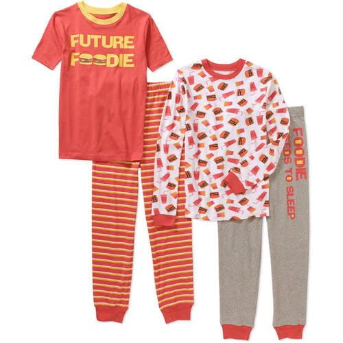 Generic Boys' 4 Piece Cotton Pajama Sleepwear Set, Available in 6 Prints