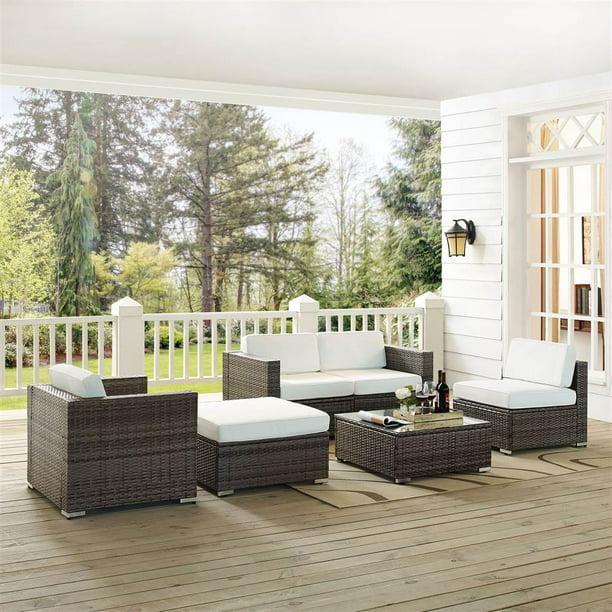 Crosley Furniture Sea Island 6 Piece Wicker Conversational Set In Gray Walmart Com Walmart Com