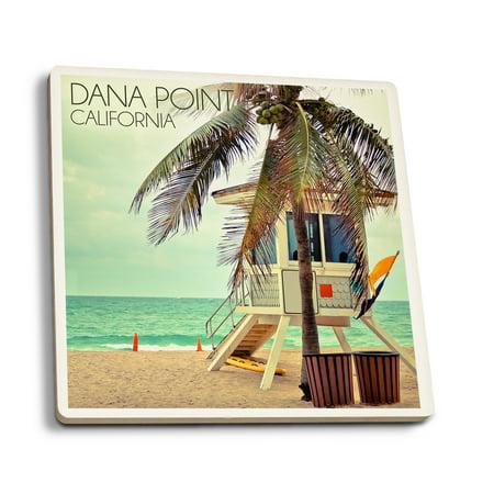 Dana Point  California   Lifeguard Shack   Palm   Lantern Press Photography  Set Of 4 Ceramic Coasters   Cork Backed  Absorbent