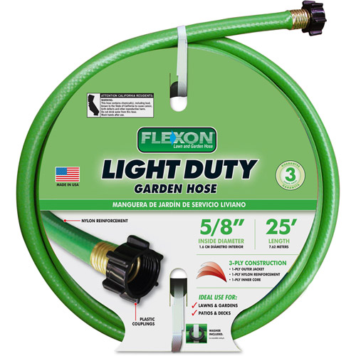 Flexon 25u0027 Light Duty Garden Hose, Light Green