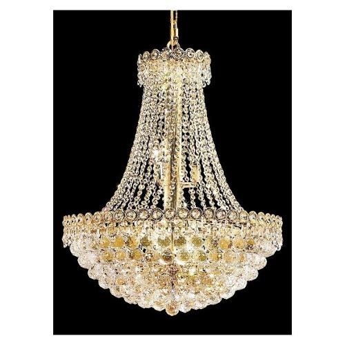 Century Clear Crystal Chandelier w 12 Lights in Gold (Royal Cut)
