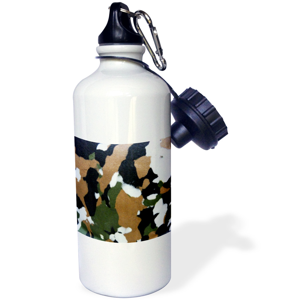 3dRose Green n Brown Camouflage, Sports Water Bottle, 21oz