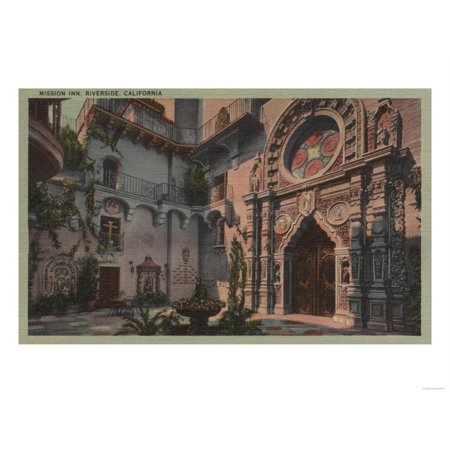 Riverside, CA - View of Mission Inn Courtyard Print Wall Art By Lantern Press - Halloween Parties Riverside Ca