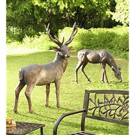 Buck & Doe Statuary Set / Deer Yard Decorations ()