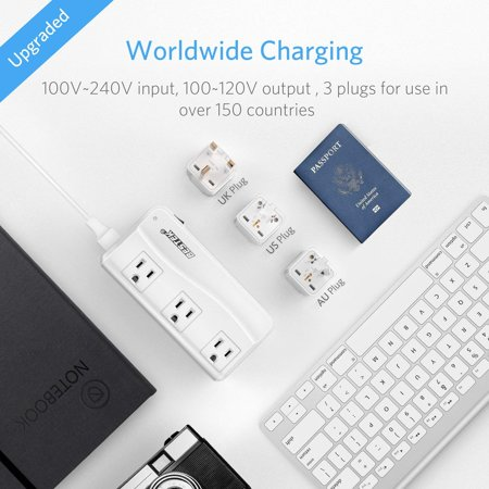 BESTEK Universal Travel Adapter 220V to 110V Voltage Converter with 6A 4 Ports USB Charging and UK/AU/US/EU Worldwide Plug Adapter , White - image 2 of 9