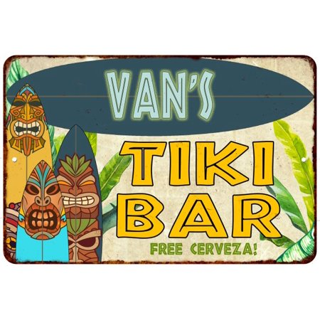 Van's TIKI BAR Island Personalized Sign Metal Wall Decor 8 x 12 High Gloss Metal 208120058480](Personalized Vans)