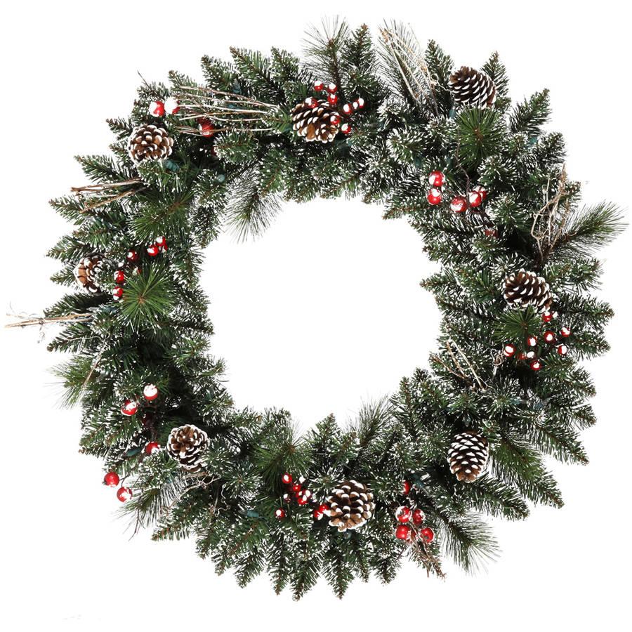 "Vickerman 30"" Snow Tip Pine/Berry Wreath 139T"