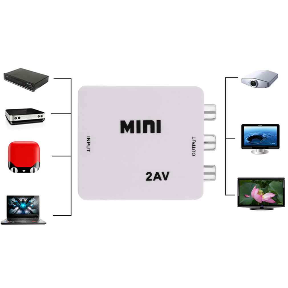 Mini 1080p HDMI to RCA Composite Video Audio AV 2AV CVBS Adapter Converter For HDTV VCR DVD VHS PS3 Xbox White New
