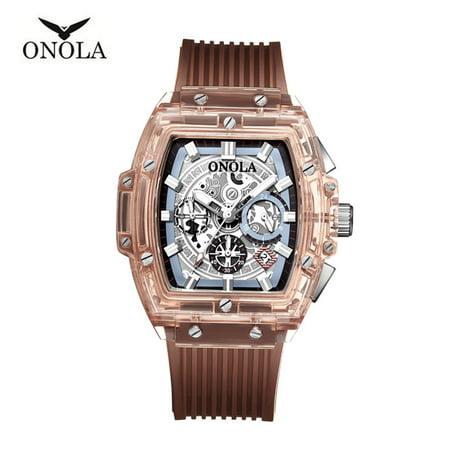 ONOLA ON6011 Men Quartz Watch Transpaernt Hollow Dial Silica Gel Band Fashion Multifunction Wristwatch 3ATM Luminous Display Chronograph Calendar Date Display Watches