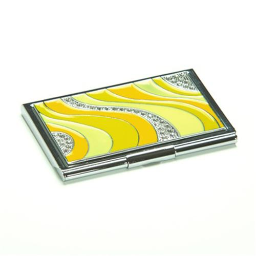 Crystal Yellow Wave Business Card Case ID Wallet Holder
