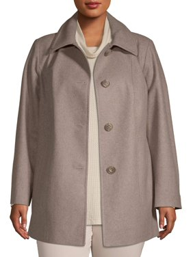 F.O.G. Women's Plus Feminine Wool Coat with Button Front Closure