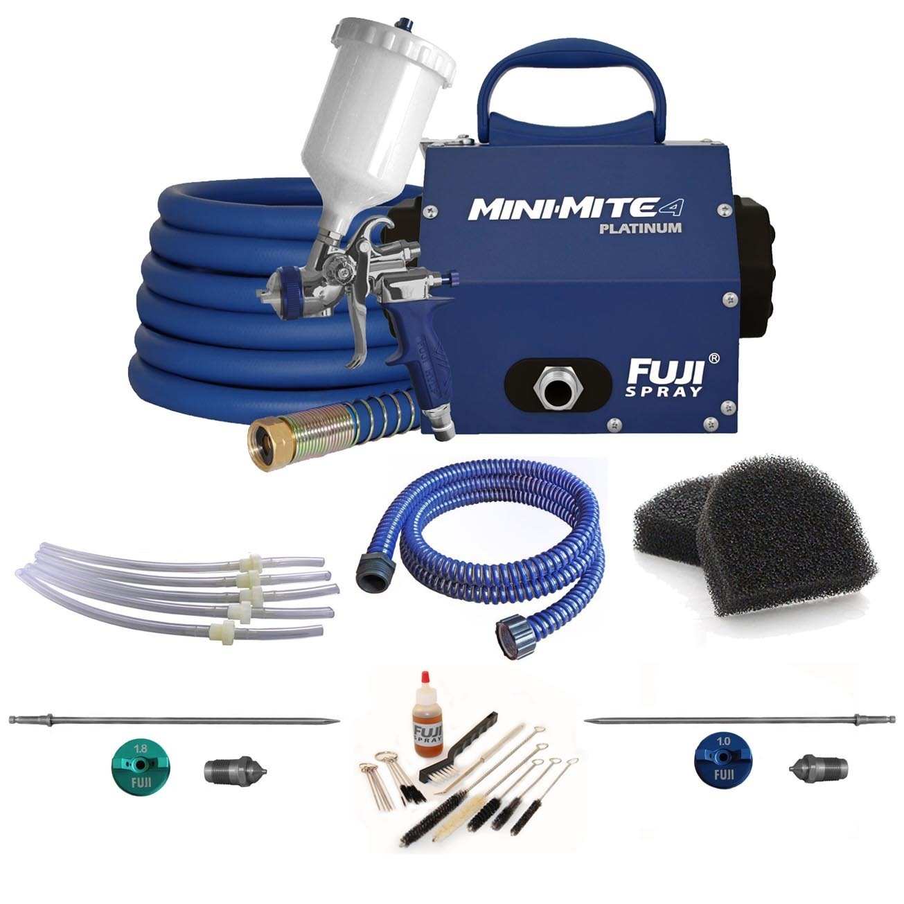 Fuji Mini-Mite 4 Platinum HVLP Spray System w/ Cup Parts Kit & Accessory Bundle