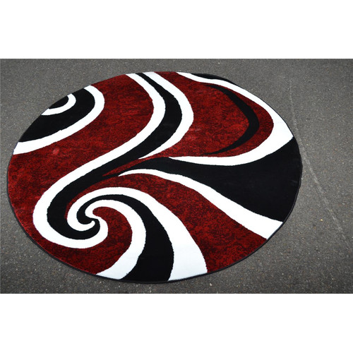 Persian Rugs 0327 Red Swirl Design Round contemporary area rug