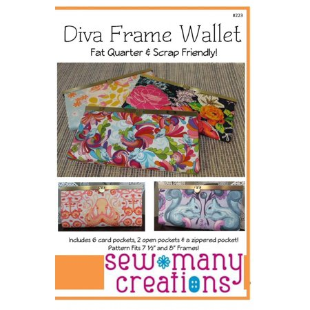 Diva Frame Wallet Pattern, FAT QUARTER AND SCRAP FRIENDLY! By Sew Many Creations Ship from US