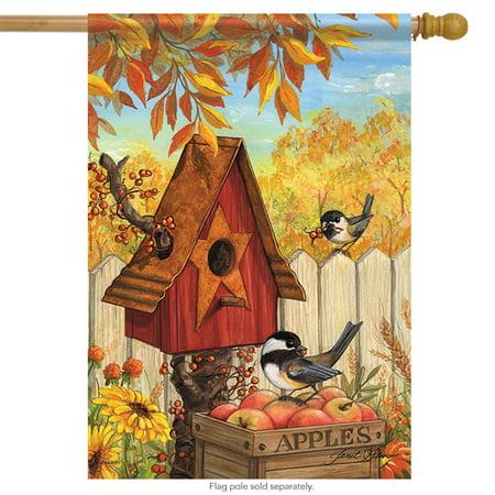 Birdhouse Flag (Autumn in the Garden House Flag Double Sided Birdhouse Apples Fall Birds 28
