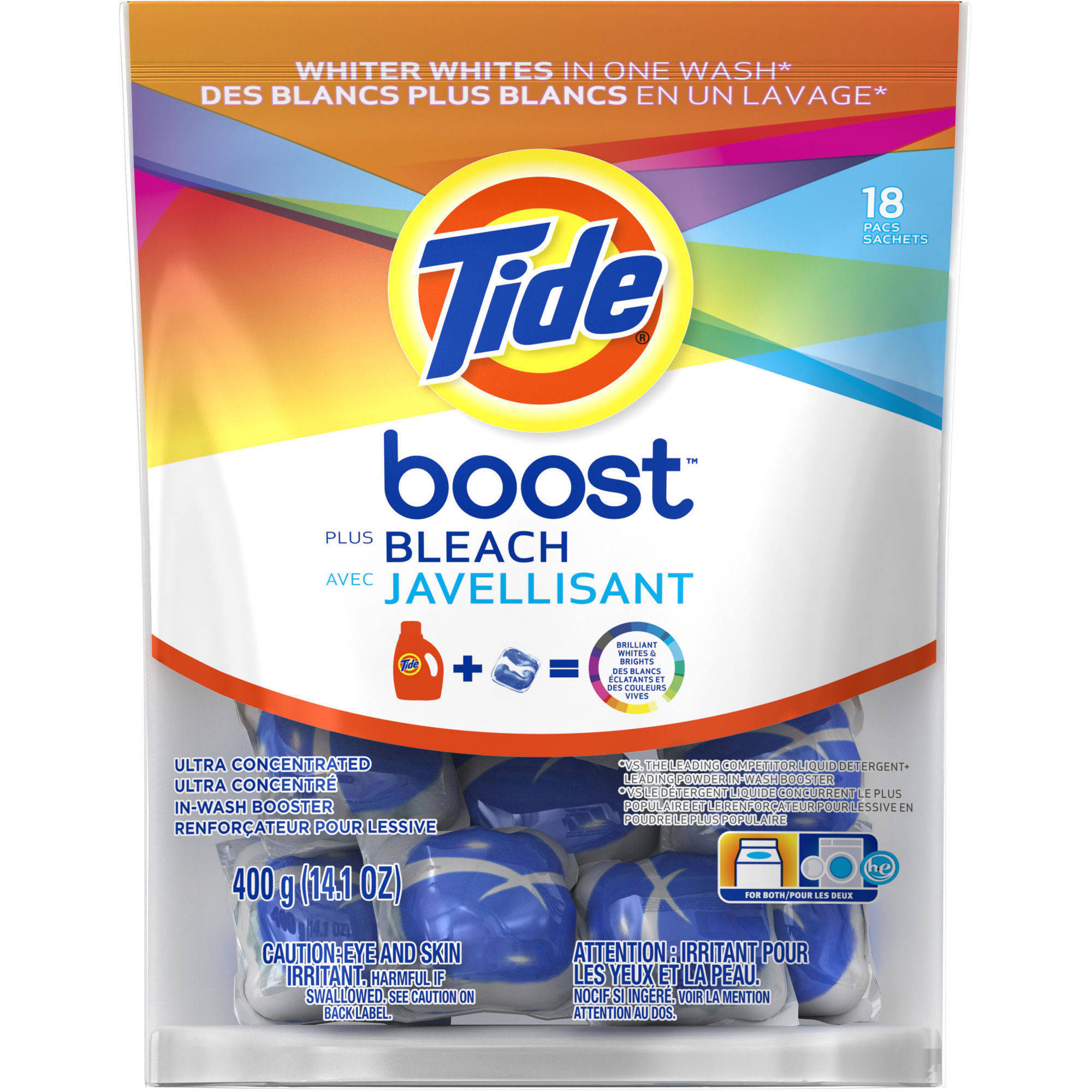 Tide Boost Vivid White + Bright HE Ultra Concentrated In-Wash Booster, 14.1 oz