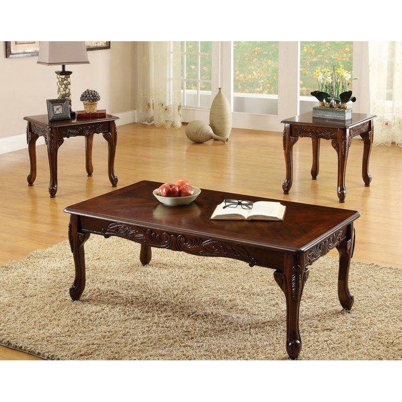 Cherry Coffee Table furniture of america winslow 3 piece coffee table set - dark