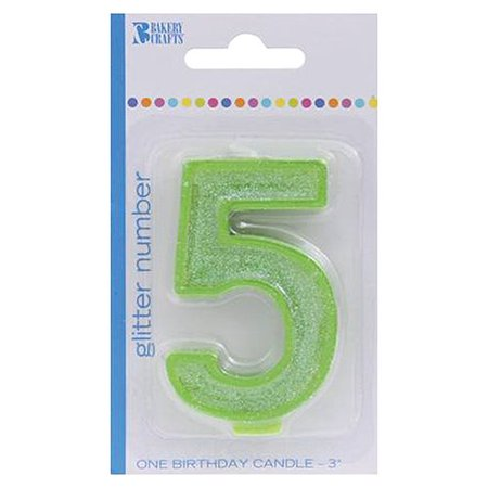 Bakery Crafts Glitter Number 5 Birthday Candle Green 3