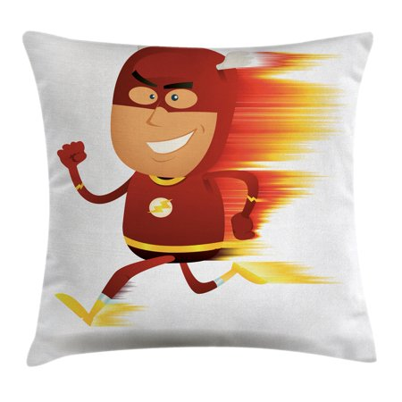 Superhero Throw Pillow Cushion Cover, Lightning Bolt Man with Cape and Mask Fast as Light Fun Cartoon Character Artprint, Decorative Square Accent Pillow Case, 18 X 18 Inches, White Red, - Lightning Bolt Superhero
