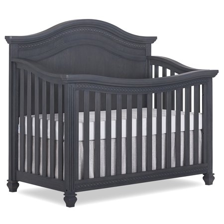 Evolur Madison 5 in 1 Curved Top Convertible Crib, Weathered Grey