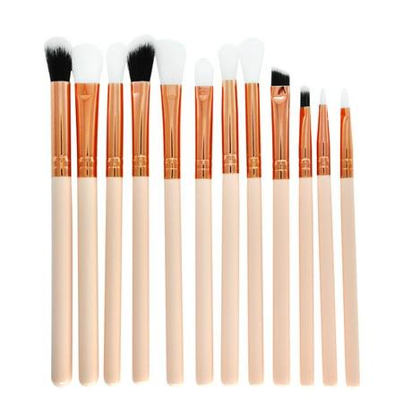 12 Pcs Makeup Brush Set Professional Face Eye Shadow Eyeliner Foundation Blush - White Face Black Eyes Halloween Makeup