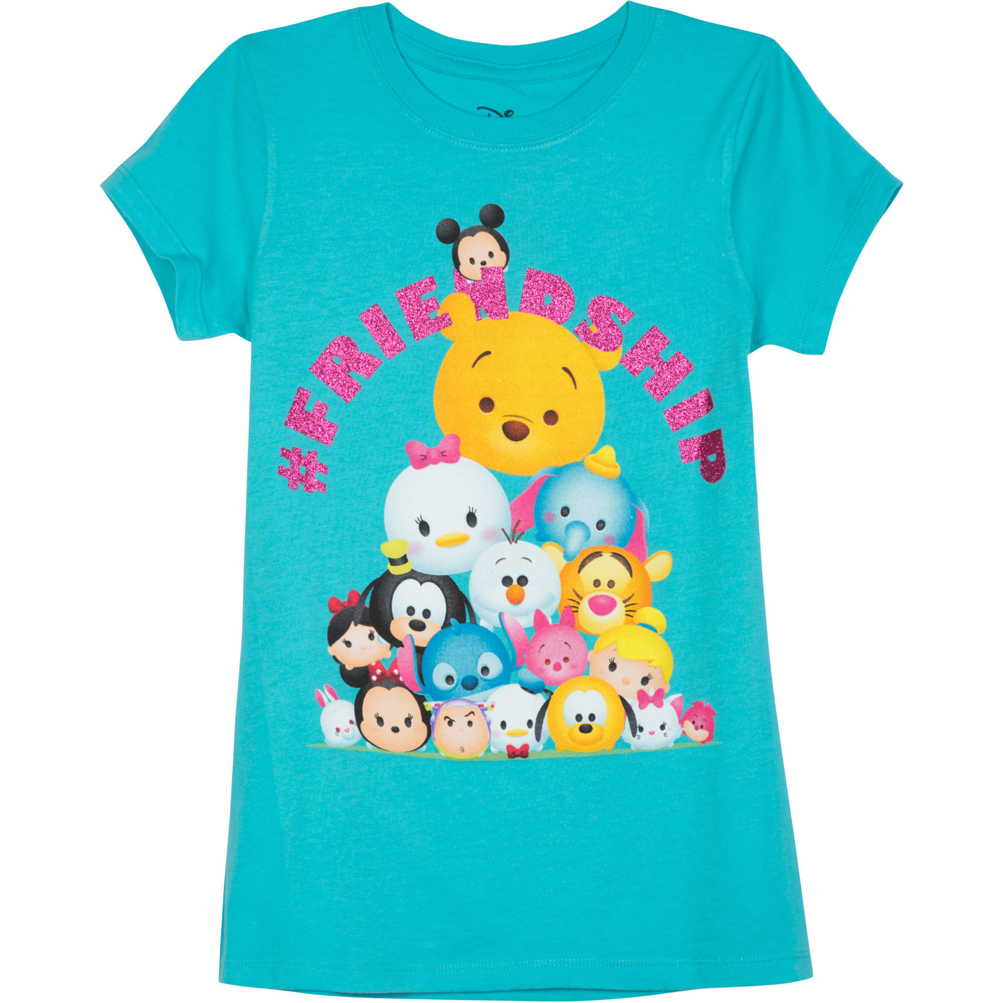 Tsum Tsum Girls' Friendship Short Sleeve Crew Neck Graphic Tee