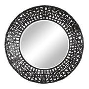 Uttermost 11587 B Alita Large Rustic African Basket Weave Framed Wall Mirror - Black