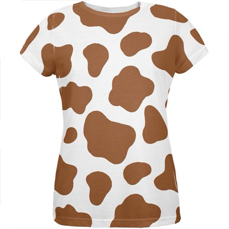 Halloween Costume Brown Spot Cow All Over Womens T Shirt
