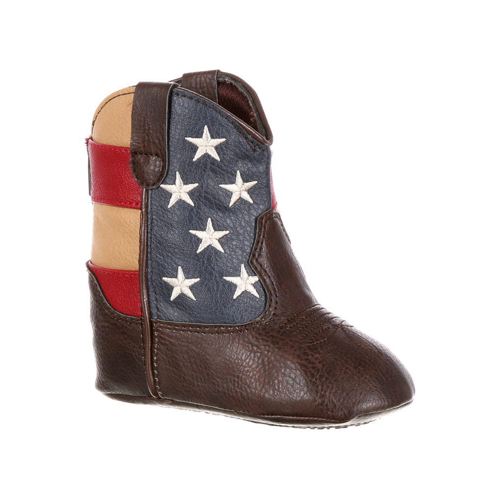 Durango Baby Boy's Western Flag Boots Brown Leather 12-18 Months M by Durango
