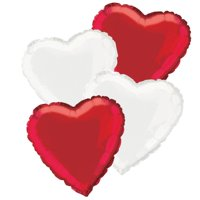 Foil Heart Balloon Bouquet, Red & White, 18in, 4ct