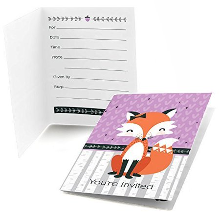 Miss Foxy Fox - Fill In Baby Shower or Birthday Party Invitations (8 count)