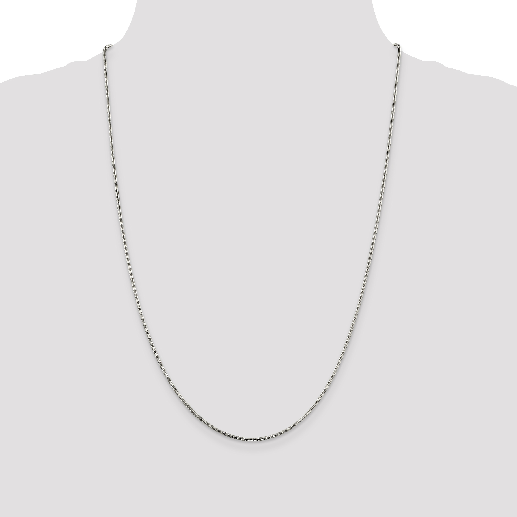 925 Sterling Silver 1.5mm Round Snake Chain 24 Inch - image 3 of 5